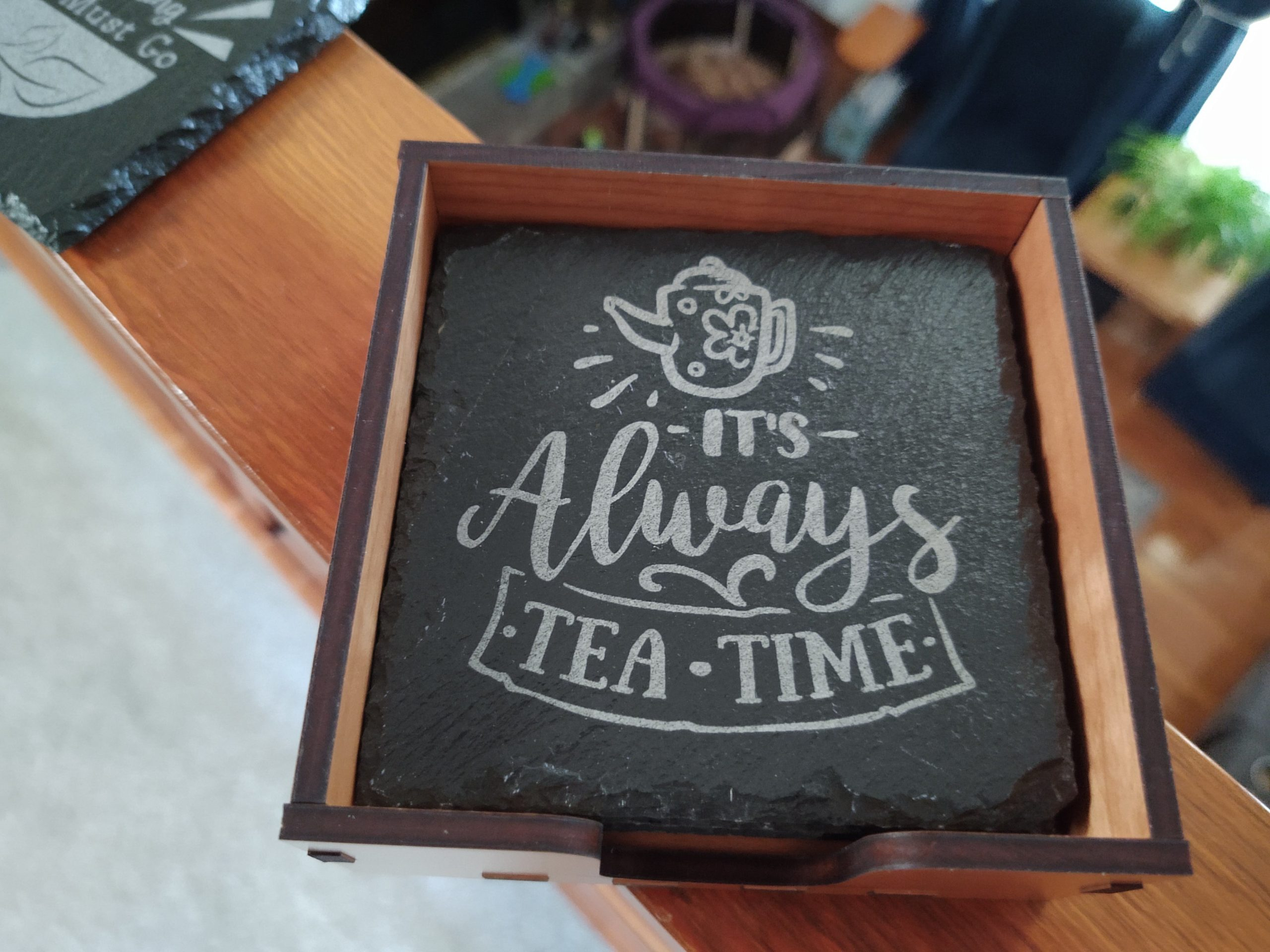 Tea Themed Slate Coasters with Holder