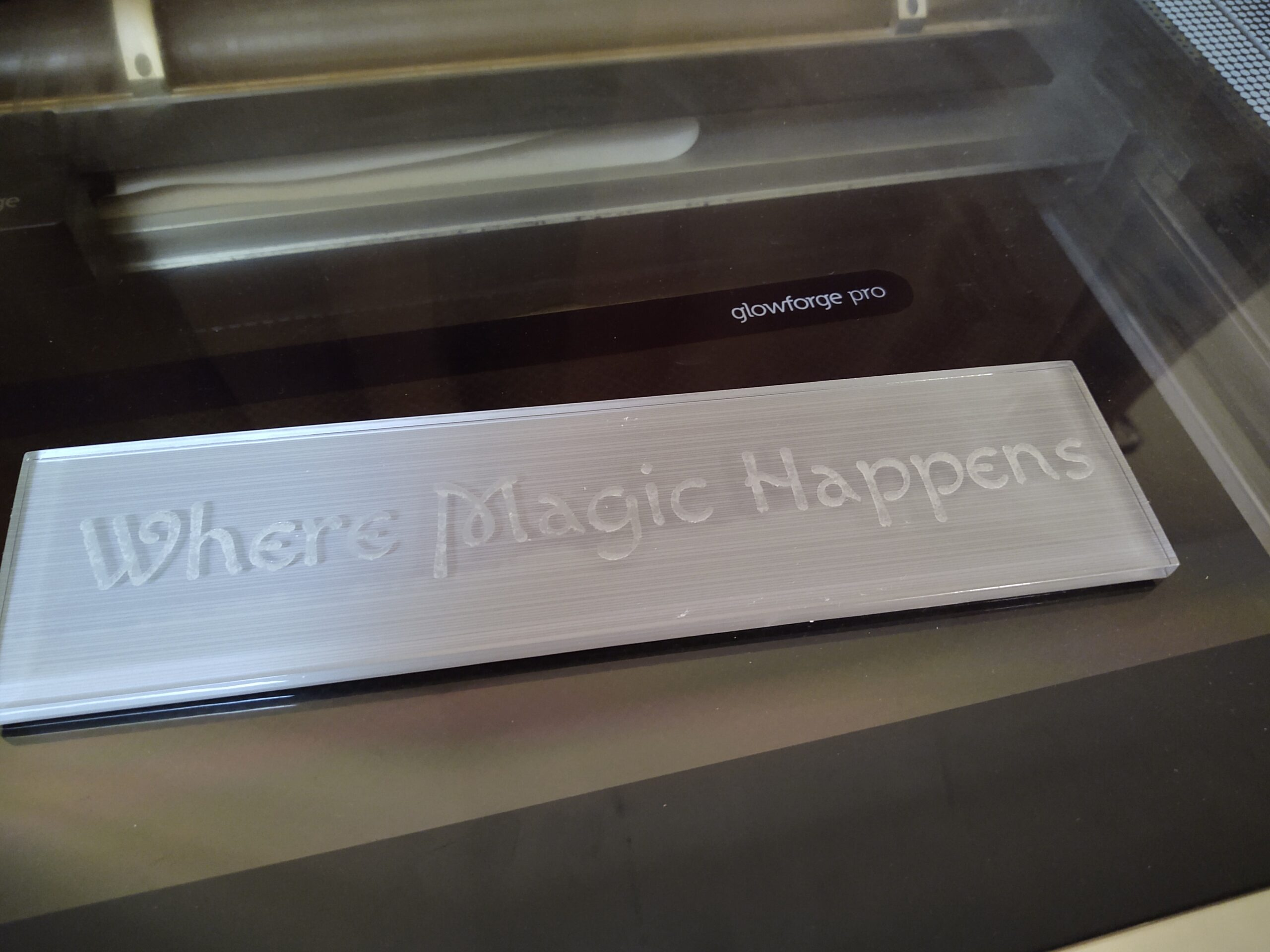"Engraved Glass Tile ""Where Magic Happens"""
